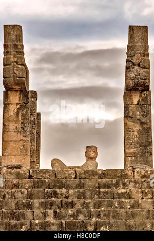 Detail Temple of the Warriors showing Chac Mool Chichen Itza Mexico - Stock Photo