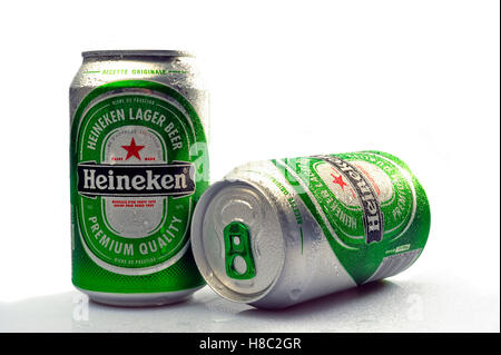 Heineken beer cane photographed in studio on white background - Stock Photo