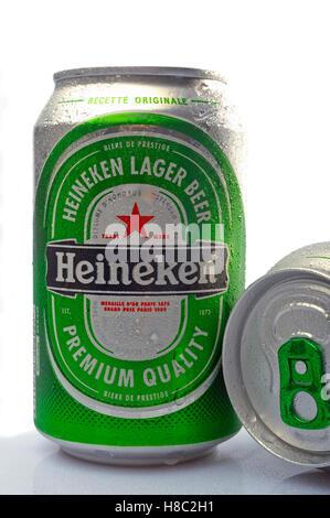 Heineken beer cane photographed in studio on white background - Stock Photo
