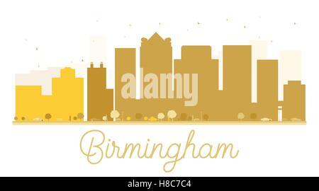 Birmingham City skyline golden silhouette. Vector illustration. Simple flat concept for tourism presentation, banner, - Stock Photo