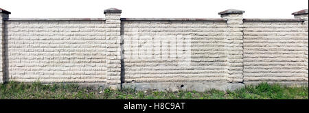 Hard long solid rural fence made from aged white  bricks. Isolated from top panoramic collage - Stock Photo