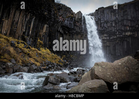 Svartifoss waterfall in Skaftafell National Park in sourtheastern Iceland - Stock Photo