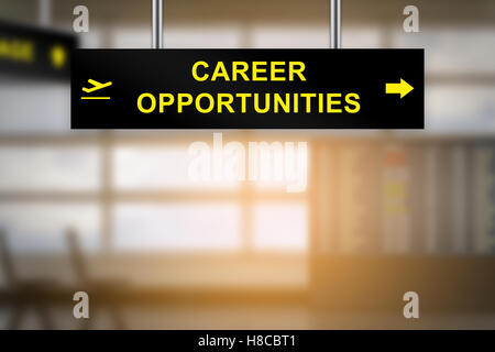 career opportunities on airport sign board with blurred background and copy space - Stock Photo