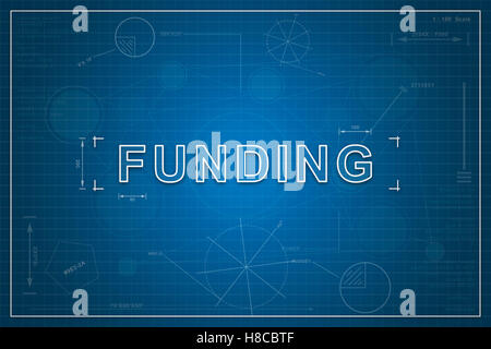 funding on paper blueprint background, business concept - Stock Photo