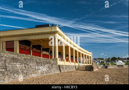 Whitmore Bay, a large sandy beach on Barry Island in south Wales on a bright and sunny autumn day - Stock Photo