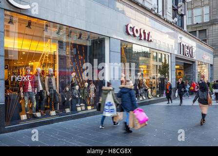 Costa Coffee shop & Christmas windows appear in Next stores in the streets of  Liverpool One as Saturday shoppers - Stock Photo