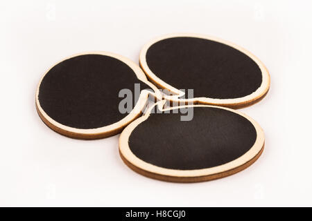 wooden speech bubbles next to each other isolated on white background metaphor, concept for communication - Stock Photo