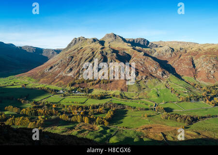 The Langdale Pikes seen from Side Pike in the Lake DIstrict  National Park