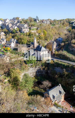 The Bozouls Hole in Autumn and the lower village with its two medieval watchtowers (France). That is a horseshoe - Stock Photo