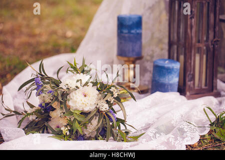 Wedding Set Up Flowers Candles Outdoor
