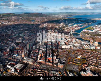 Aerial of Belfast City Center, Northern Ireland - Stock Photo