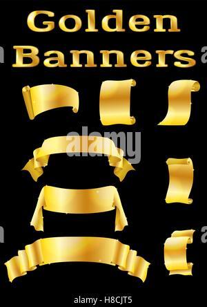 Golden Banners, Set - Stock Photo