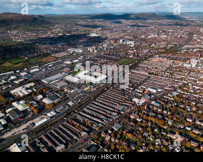 Aerial of Belfast City Center, Northern Ireland - Stock Photo