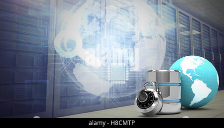 Composite image of database server icon with lock and earth - Stock Photo