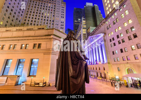 New York City cityscape at Wall Street from Federal Hall. - Stock Photo
