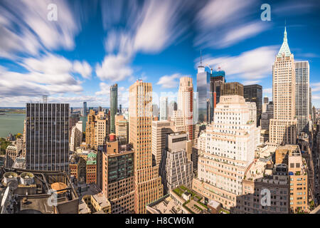 New York City Financial District cityscape at dusk. - Stock Photo
