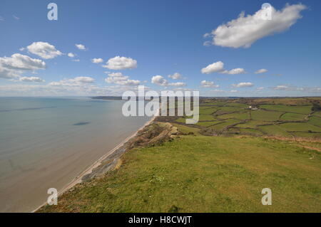 Wide-angle eastward view from Golden Cap, Jurassic Coast of Dorset - Stock Photo