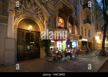 schwarzes cafe during summertime,  kanstrasse berlin charlottenburg, germany - Stock Photo