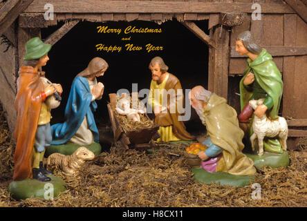 xmas crib and nativity scene - Stock Photo