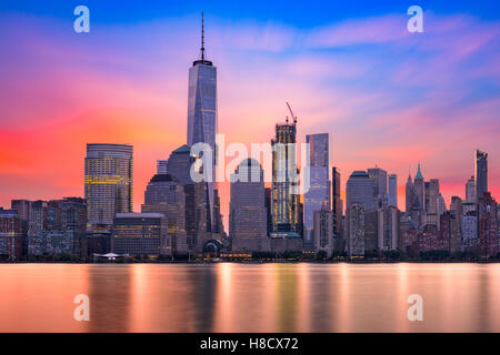 New York City Financial District at dawn. - Stock Photo