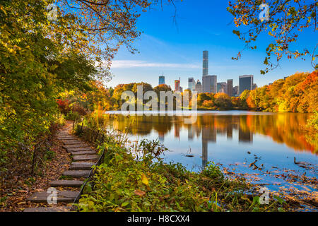 Central Park during autumn in New York City. - Stock Photo