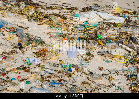 Trash strewn on Long Beach, Sok San Village, Koh Rong Island, Krong Preah Sihanouk, Sihanoukville, Cambodia - Stock Photo