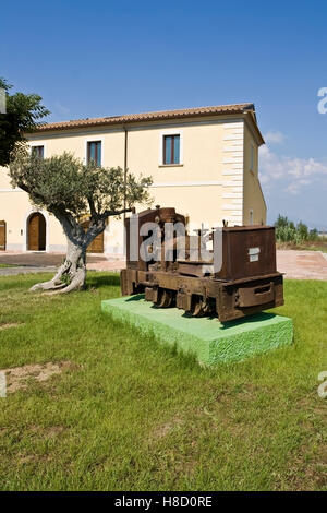 Very old small locomotive in a farm in Salerno, Campania, Italy, Europe - Stock Photo