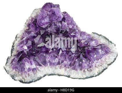 Purple amethyst crystal quartz stone isolated on white background - Stock Photo
