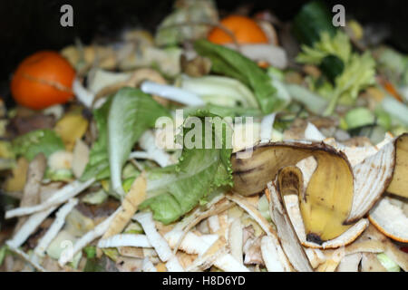 compost in a compost bin - Stock Photo