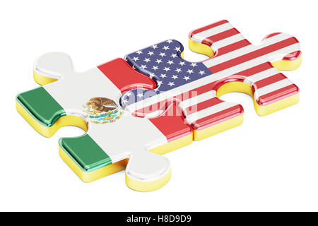USA and Mexican puzzles from flags, relation concept. 3D rendering isolated on white background - Stock Photo
