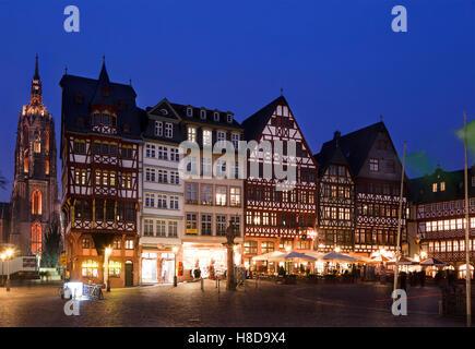Night view of Romer Square in Frankfurt city, Germany - Stock Photo
