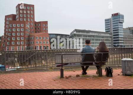 View of the Media Harbor with buildings of Neuer Zollhof in Duesseldorf city, Germany - Stock Photo