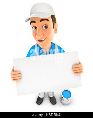 3d painter holding a billboard, illustration with isolated white background - Stock Photo