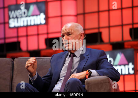 Lisbon, Portugal. 10th Nov, 2016. Greece's former Prime Minister George Papandreou speaks during the Web Summit - Stock Photo