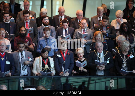 City Hall, London 11 Nov 2016 The Mayor of London, Sadiq Khan, Chairman of the London Assembly, Tony Arbour, London - Stock Photo