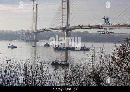 Queensferry, Edinburgh, Scotland, 11th, November, taken from the first Road Bridge. The 2nd Road bridge is nearing - Stock Photo