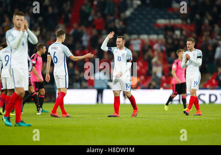London, UK. 11th Nov, 2016. Players of England celebrate after the Group F match between England and Scotland at - Stock Photo