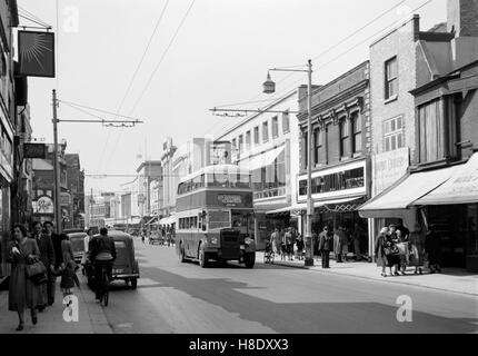 a view down commercial road in portsmouth during the 1950s england uk - Stock Photo
