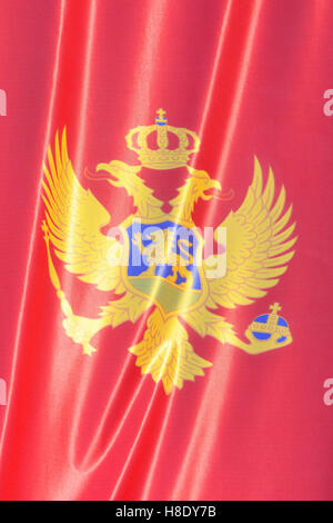 The national flag of Montenegro (since 13 July 2004) - Stock Photo