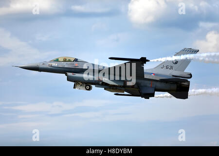 RNLAF F-16AM, J-631, Fighting Falcon jet takes off at the 2014 Royal International Air Tattoo, Raf Fairford, Gloucestershire,UK. - Stock Photo