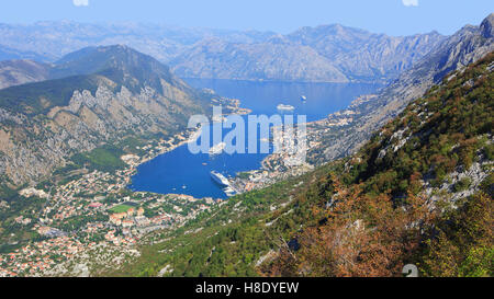 Panoramic view of the Bay of Kotor, Montenegro - Stock Photo