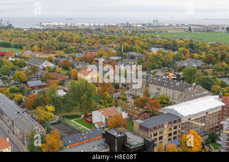 Panoramic view of Freetown Christiania from Church of Our Saviour (Vor Frelsers Kirke) in Copenhagen, Denmark - Stock Photo