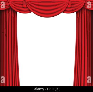 vector red silk curtain with shadows and pelmet - Stock Photo