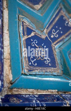 Tile inside the Shah-i-Zinda necropolis, Samarkand - Stock Photo