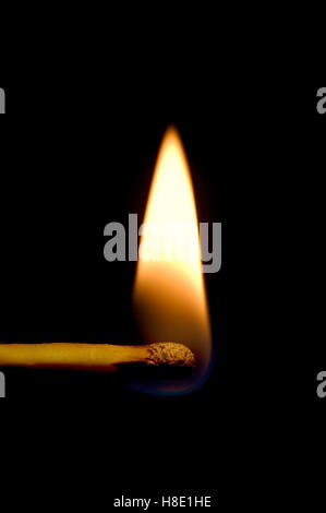 Burning Match Macro Closeup, Vertical Isolated On Black - Stock Photo