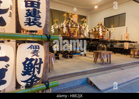 A mobile shrine in its resting place in Asakusa, Tokyo - Stock Photo