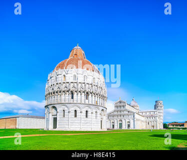 Pisa, Miracle Square view. Baptistry, cathedral Duomo and Leaning Tower of Pisa. Unesco World Heritage site. Tuscany, - Stock Photo