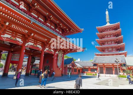 Asakusa, Tokyo at Sensoji Temple's Hozomon Gate. - Stock Photo