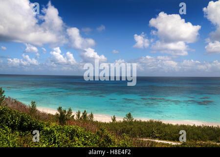 Bermuda Atlantic ocean view from coastline, on a beautiful summer day. - Stock Photo