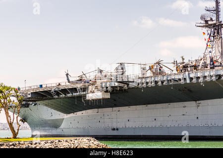 Decks and details on the aircraft carrier Midway docked in San Diego - Stock Photo